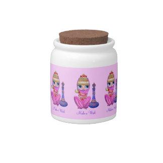 願いに5人のピンクの魔神の女の子及び魔法のボトルをして下さい キャンディージャー