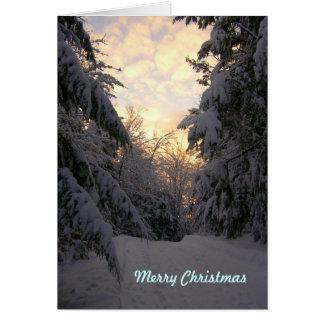 願いのクリスマスの降雪カードを暖めて下さい カード