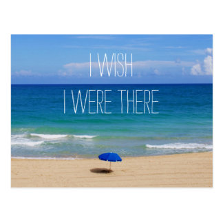 願い私は-青いビーチパラソルそこにいました ポストカード