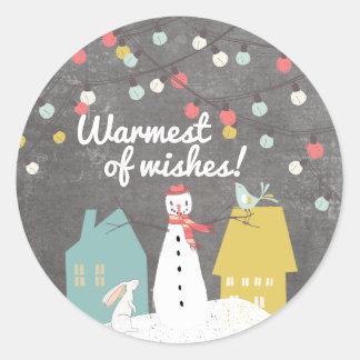 願い のかわいいヴィンテージのクリスマスの休日の最も暖かい ラウンドシール