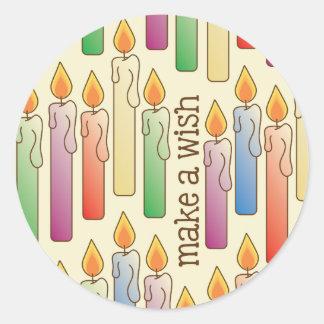 """""""願い""""の誕生日の蝋燭のステッカー作って下さい ラウンドシール"""