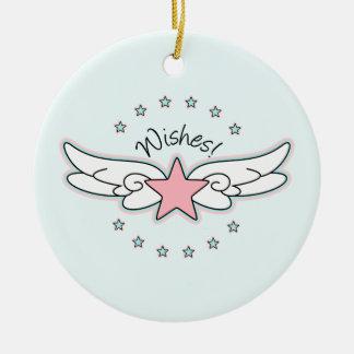 願い-翼が付いている星 セラミックオーナメント