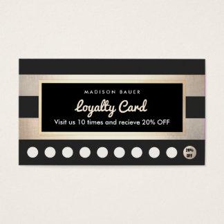 顧客のロイヤリティ10の穿孔器の金ゴールドおよび黒のストライプ 名刺