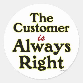 顧客は右のことわざ常にです ラウンドシール