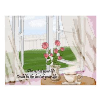 風が強い窓 ポストカード