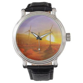 風によって動力を与えられる 腕時計