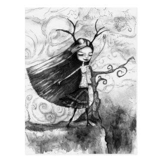 風の女の子 ポストカード