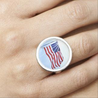 風の米国の旗 指輪