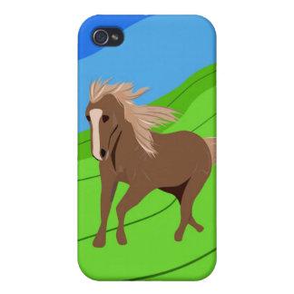 風を吹く鬣及び尾を搭載するブラウンの馬のランニング iPhone 4/4Sケース