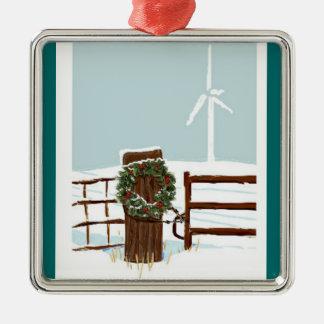 風力発電地帯のクリスマスのオーナメント メタルオーナメント