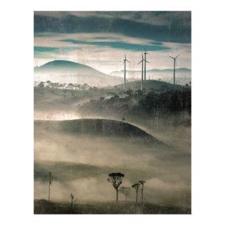 風力発電地帯の景色の早朝 レターヘッド
