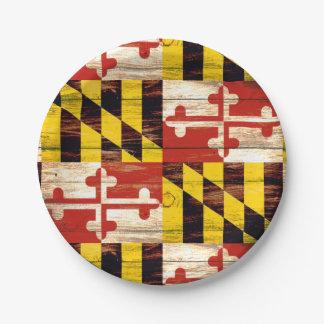 風化させたメリーランドの木製の旗の紙皿 ペーパープレート