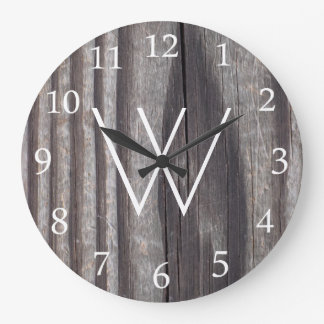 風化させた国の木製の白いモノグラム ラージ壁時計