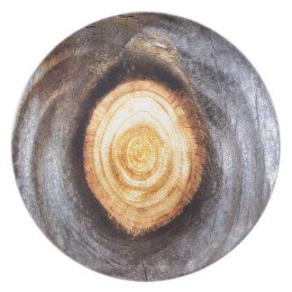 風化させた木製の結び目 プレート