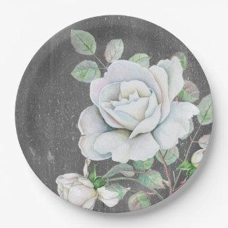 風化させた黒の白いバラ ペーパープレート