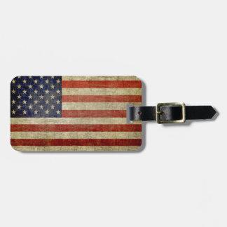 風化させた、動揺してな米国旗 ラゲッジタグ