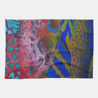 風変りでカラフルな動物のヒョウのプリント キッチンタオル