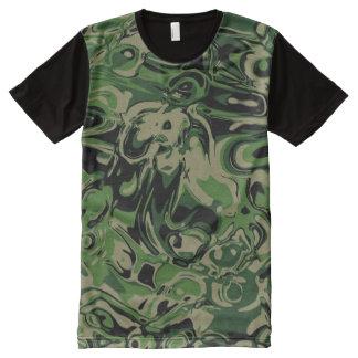 風変りな緑 オールオーバープリントT シャツ