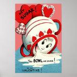 風変わりでかわいくおもしろいな卓上砂糖入れのハートのバレンタイン ポスター