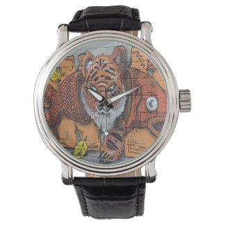 風変わりなオレンジトラの魚の落書き 腕時計