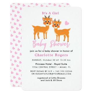 風変わりなシカのピンクのハートの冬の女の赤ちゃんのシャワー カード