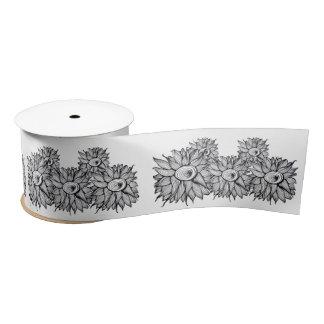 風変わりな花の花束の落書きの芸術 サテンリボン