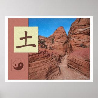風水: Baguaのイメージ: 地球の景色 ポスター