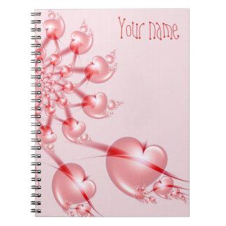 風車のバレンタインのピンクのハートのフラクタルのノート ノートブック
