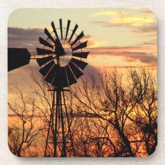 風車の日没のコースターセット コースター