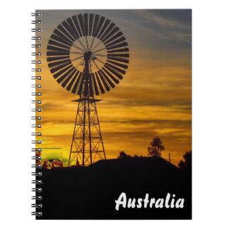 風車の日没のノート ノートブック