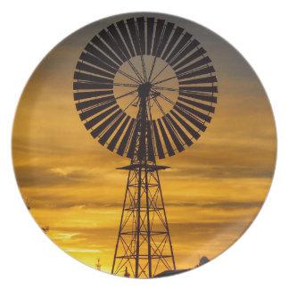 風車の日没のメラミンプレート プレート