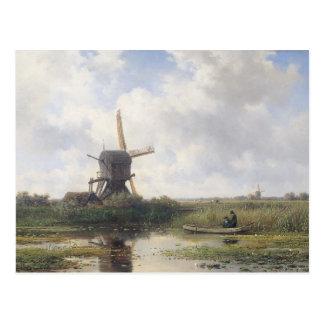 風車の景色-ウィレムRoelofs ポストカード