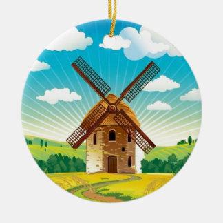風車の景色 セラミックオーナメント