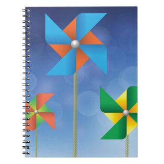 風車の背景 ノートブック
