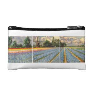 風車の風景画のトリプティクを開花します コスメティックバッグ