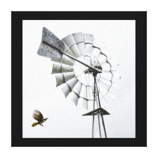 風車及びバナナの鳥田園クイーンズランドオーストラリア キャンバスプリント