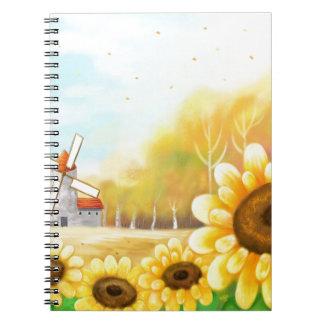 風車場面の美しい花 ノートブック