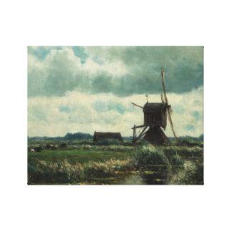 風車、ウィレムRoelofsとの干拓の景色 キャンバスプリント