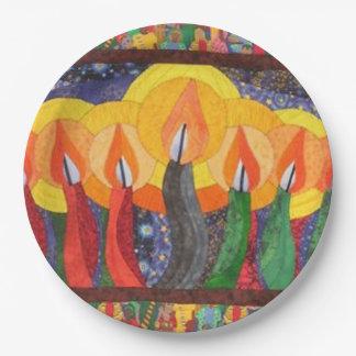 風Kwanzaaの蝋燭によっては紙皿がパーティを楽しみます ペーパープレート