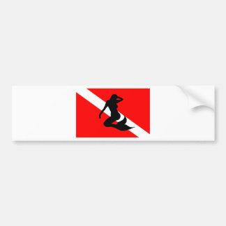 飛び込みの旗の人魚 バンパーステッカー