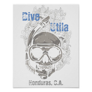 飛び込みのUtilaホンジュラスカリフォルニアのスカルのダイバーポスター ポスター