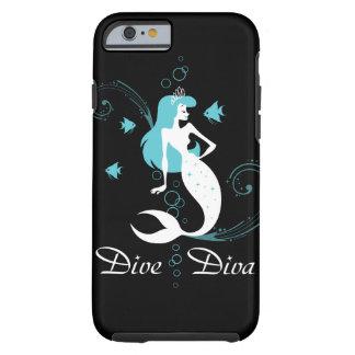 """""""飛び込み花型女性歌手""""の青緑色の人魚のiPhone6ケース(黒) ケース"""