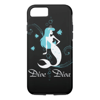 """""""飛び込み花型女性歌手""""の青緑色の人魚のiPhone 7の箱(黒) iPhone 8/7ケース"""