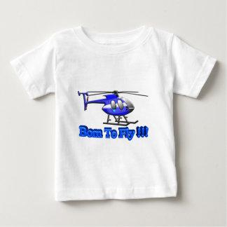 飛ぶために!生まれて下さい!! ヘリコプター ベビーTシャツ