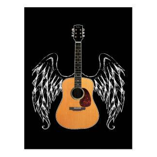 飛んだアコースティックギター ポストカード