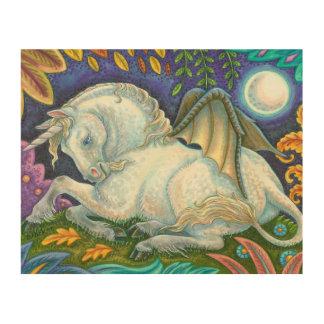 飛んだユニコーンの飛んでいるな馬のファンタジーの木製の壁の芸術 ウッドウォールアート