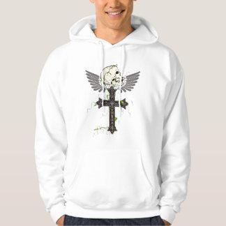 飛んだ十字のワイシャツのスカル パーカ