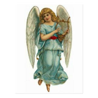 飛んだ天使およびハープ ポストカード