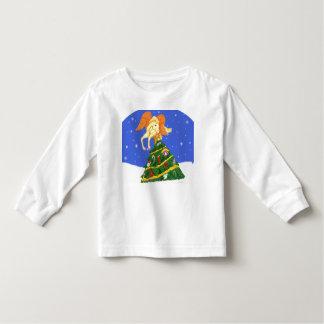 飛んだ子馬およびクリスマスツリーの幼児のワイシャツ トドラーTシャツ