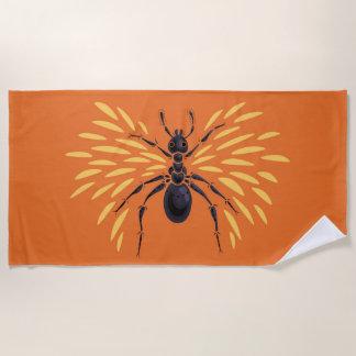 飛んだ蟻の火のように激しくオレンジ ビーチタオル